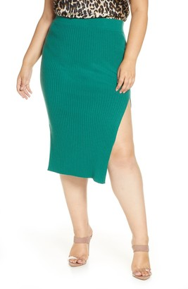 Leith Ribbed Side Slit Sweater Skirt