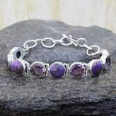 Amethyst and Purple Turquoise Sterling Silver Bracelet, 'Spiritual Friendship'