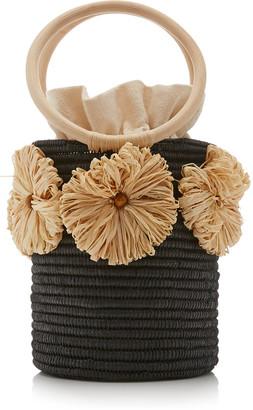 Poolside Together Forever Raffia-Trimmed Straw Bucket Bag