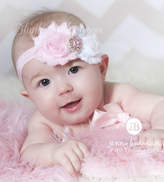Etsy Pink and White headband, baby flower headband, headband, shabby chic roses headband,pink headband