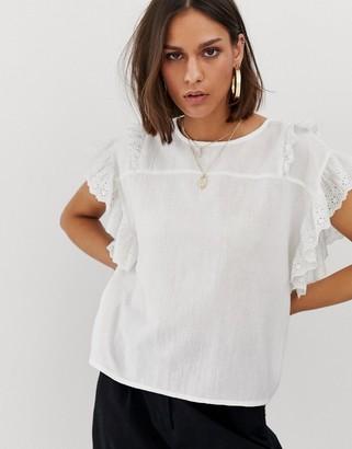 Noisy May embroidered ruffle sleeve tee-White