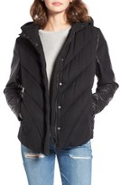 Blank NYC Women's Blanknyc Bed Fellows Puffer Jacket With Faux Leather Sleeves