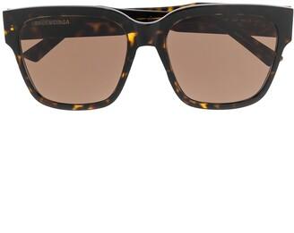 Balenciaga Eyewear Tortoiseshell-Effect Oversized Square Sunglasses