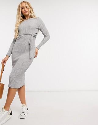 New Look ribbed knit midi dress in grey
