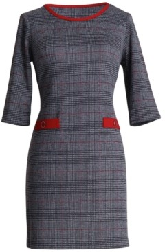 Connected Petite Plaid Sheath Dress