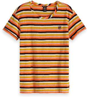 Scotch & Soda Love All Striped T-Shirt - XS - Pink/Brown/Yellow