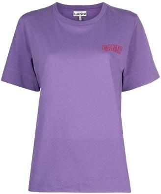 Ganni logo-embroidered T-shirt