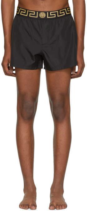 Versace Underwear Black Short Greek Key Medusa Swim Shorts