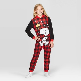 Peanuts Girls' Snoopy Hooded Union Suit -
