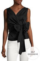 Cotton Sleeveless Bow Tie Blouse