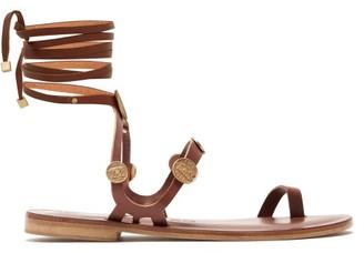 Álvaro González Alea Coin Charm Leather Sandals - Womens - Dark Brown