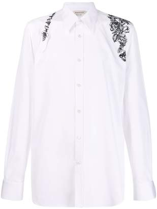 Alexander McQueen embroidered floral harness shirt