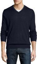 Neiman Marcus Contrast-Trim V-Neck Sweater, Midnight