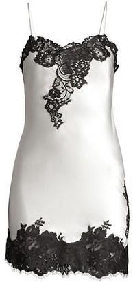 Oscar de la Renta Sleepwear Silk Lace Chemise