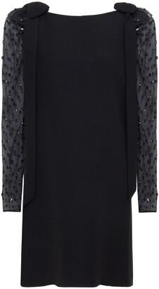 Valentino Embellished Chiffon-paneled Wool And Silk-blend Mini Dress