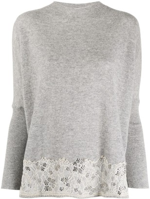 Blumarine Embellished Lace Trim Jumper