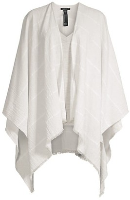 Eileen Fisher Woven Cotton-Blend Poncho