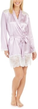Linea Donatella Women's Lace-Trim Satin Whisper Wrap Robe