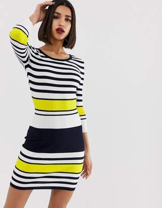 Morgan knitted pencil dress in bold stripe-Multi