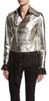 Roberto Cavalli Metallic Leather Biker Jacket, Silver