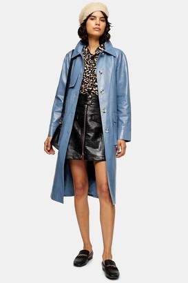 Topshop Womens Blue Faux Croc Vinyl Trench Coat - Blue