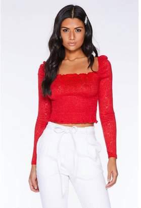 Quiz Red Crochet Long Sleeve Crop Top