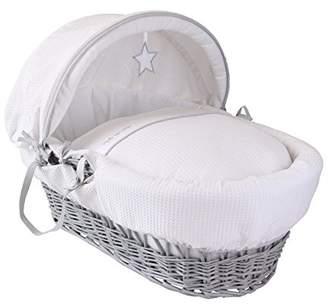 Clair De Lune Silver Lining Grey Wicker Moses Basket inc. bedding, mattress & adjustable hood (White)