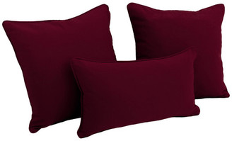 Blazing Needles Solid Twill Throw Pillows with Inserts, Set of 3,, Burgundy