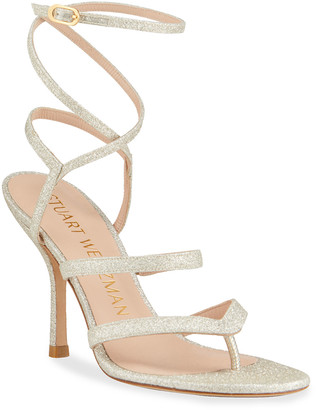Stuart Weitzman Julina Strappy Glitter Stiletto Thong Sandals