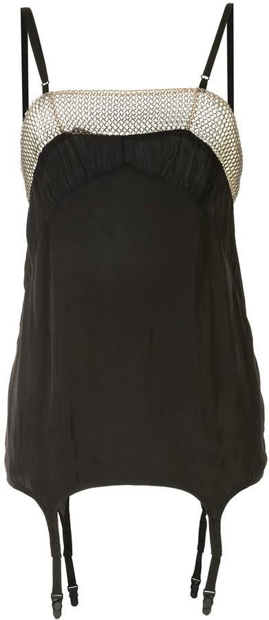 Vera Wang Chain-Link Trim Short Dress