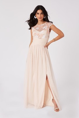 Little Mistress Bridesmaid Cindy Nude Floral-Embroidered Maxi Dress