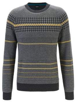 BOSS Regular-fit sweater with blocked houndstooth in cotton blend