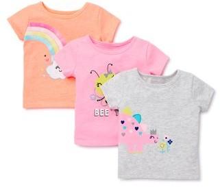 Garanimals Baby Girls Graphic T-Shirts, 3pk