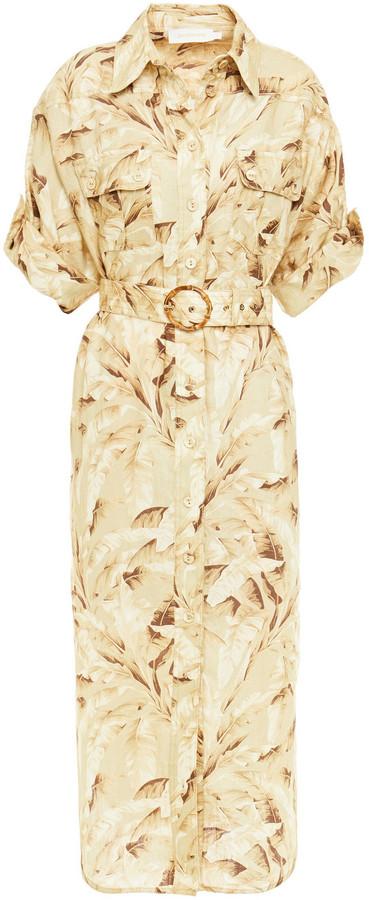Zimmermann Belted Printed Linen Midi Shirt Dress