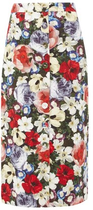 Erdem Gainor Floral Print Button Down Cotton Blend Skirt - Womens - Black Multi