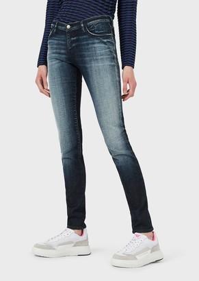 Emporio Armani J06 Skinny Jeans In Vintage-Look Slub Denim