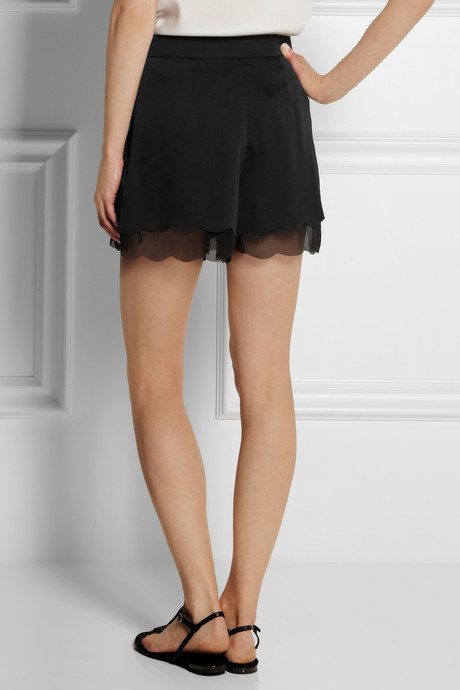 Kate Moss for Topshop Scalloped satin and chiffon shorts