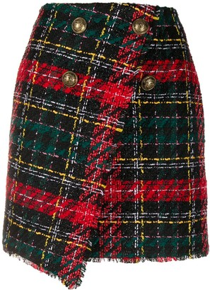 Balmain Asymmtetric Tweed Skirt
