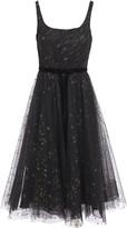 Marchesa Velvet-trimmed Glitter-embellished Flocked Tulle Midi Dress