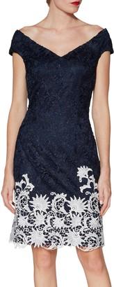 Gina Bacconi Anthea Lace Dress, Navy/White