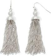 Liz Claiborne Silver-Tone Tassel Drop Earrings