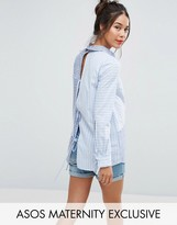 Asos Mixed Stripe Shirt with Tie Back