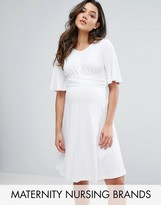 Gebe Maternity Nursing Swing Dress With Tie Front Detail