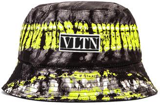 Valentino Reversible Bucket Hat in Black & Fluo Yellow & White | FWRD