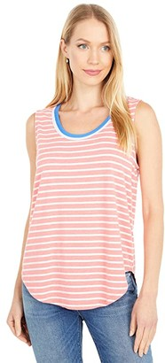 Mod-o-doc Stripe Jersey Tank with Color-Block Binding (Red) Women's Clothing