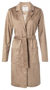 Ya-Ya Camel Suedine Trench Coat with Front Pockets - 38