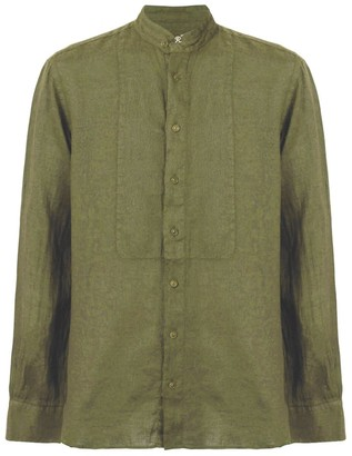 MC2 Saint Barth Korean Collar Shirt Green Military Linen
