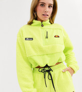 Ellesse half zip high neck top with chest logo in sherpa two-piece