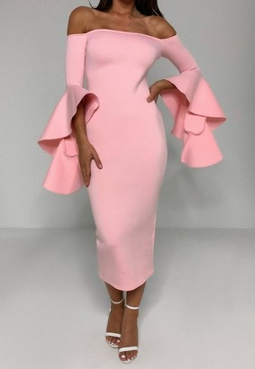 Missguided Pink Scuba Bardot Ruffle Midi Dress
