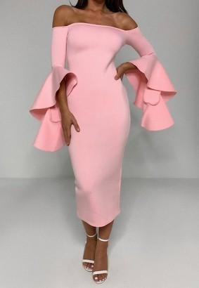 Missguided Scuba Bardot Ruffle Midi Dress